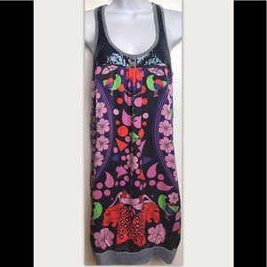 CUSTCO BARCELONA Silk Dress Sequins Tank Scoop